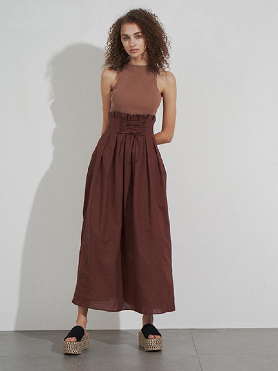 針織拼接腰部綁帶洋裝