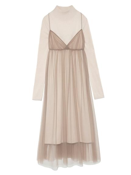 兩件式針織薄紗組合洋裝