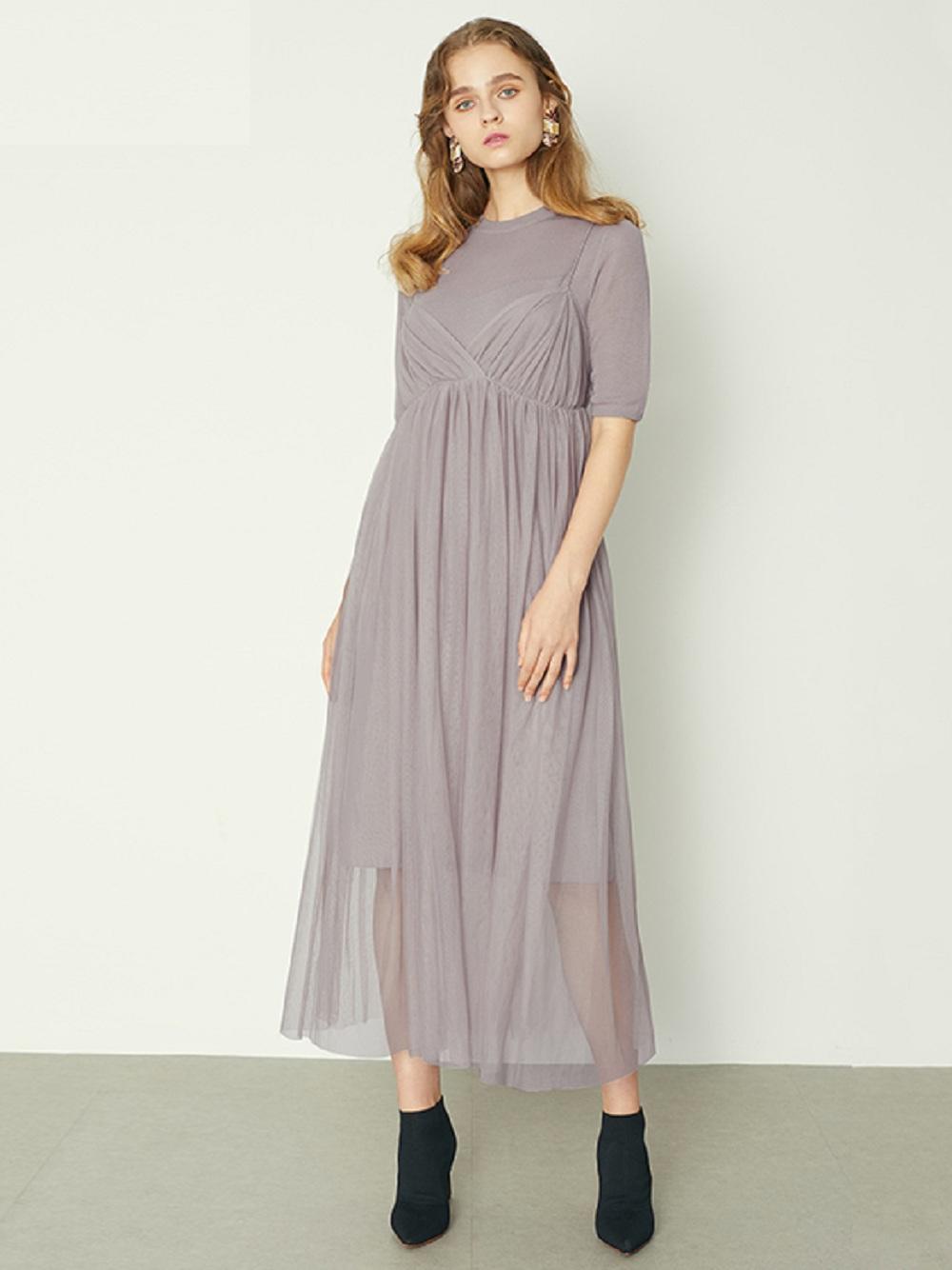 薄紗針織連身裙組合