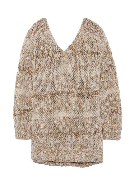 混色粗針織長版毛衣