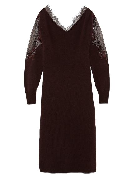蕾絲緹花拼接袖設計洋裝