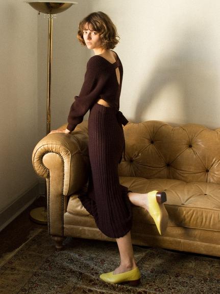 露背設計針織洋裝