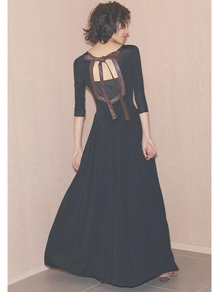 露背綁結設計針織洋裝