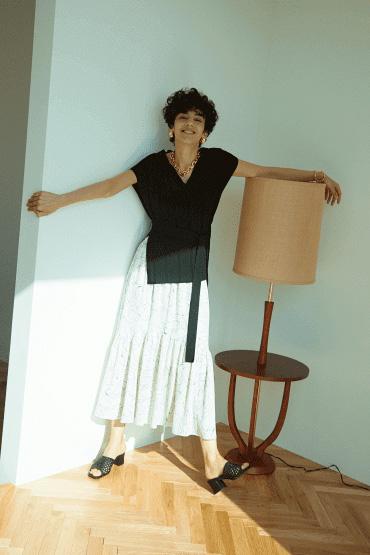針織X印花裙連身裙套裝