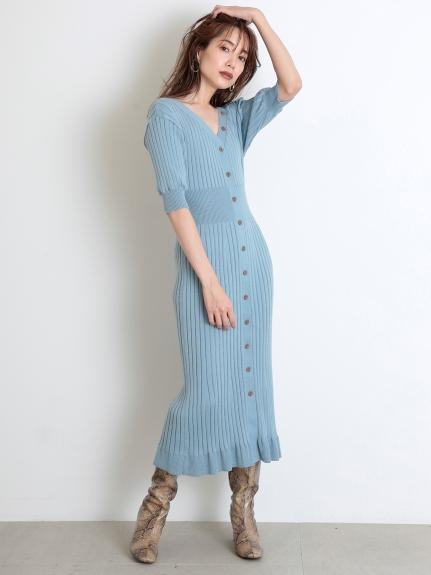 鈕釦裝飾針織連身裙