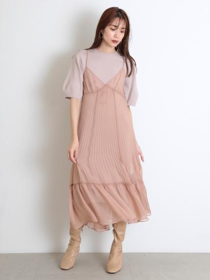 透膚細肩帶針織連身裙組合