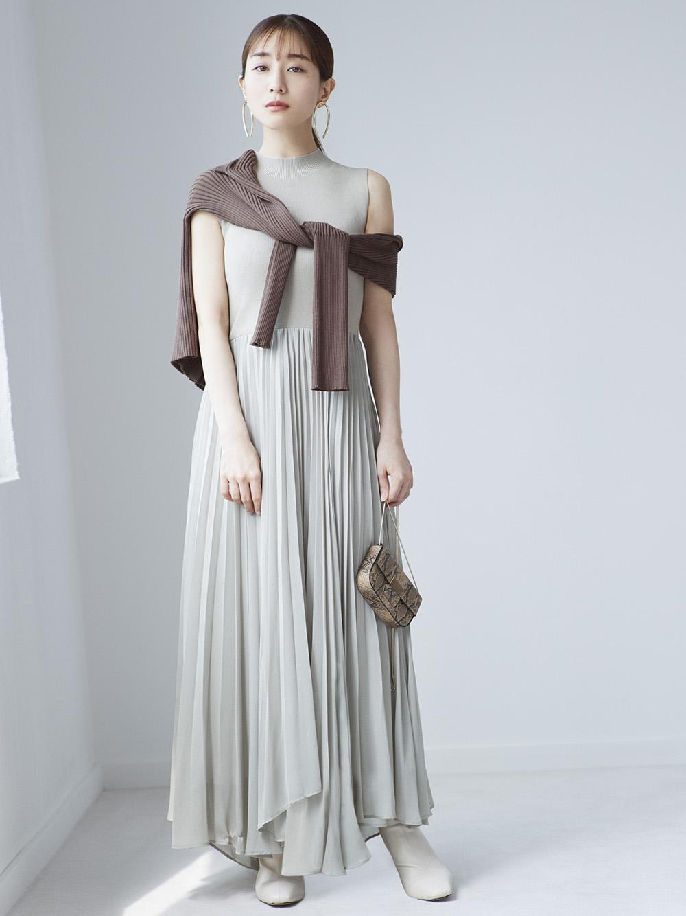 無袖針織拼接連身裙