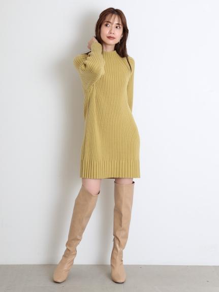 寬羅紋針織短版連身裙