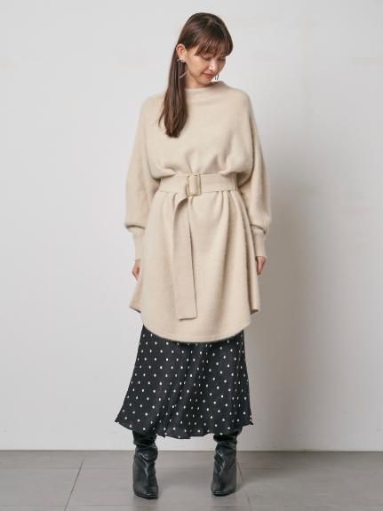 毛絨感腰帶針織連身裙