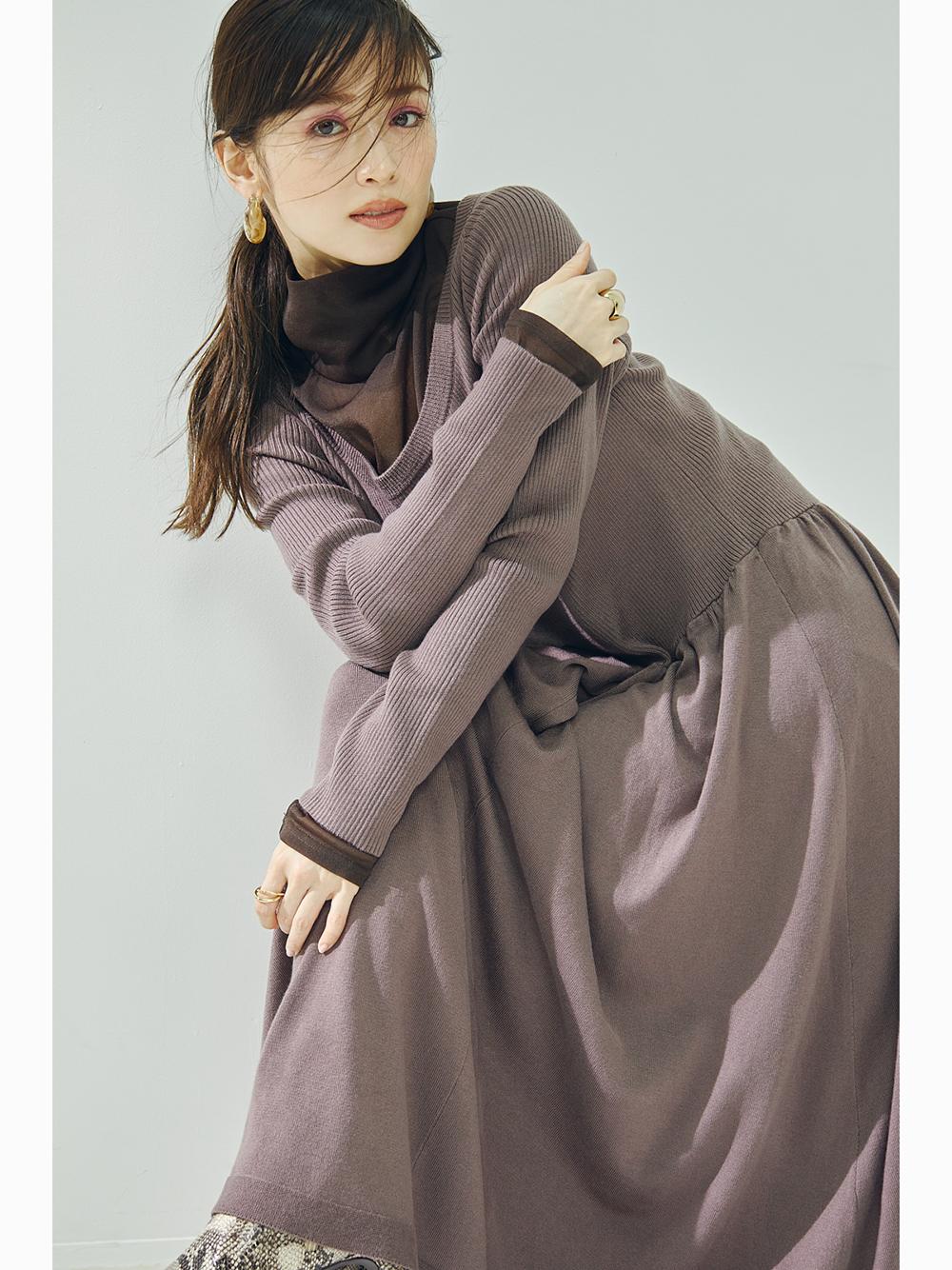 大U領針織連身裙
