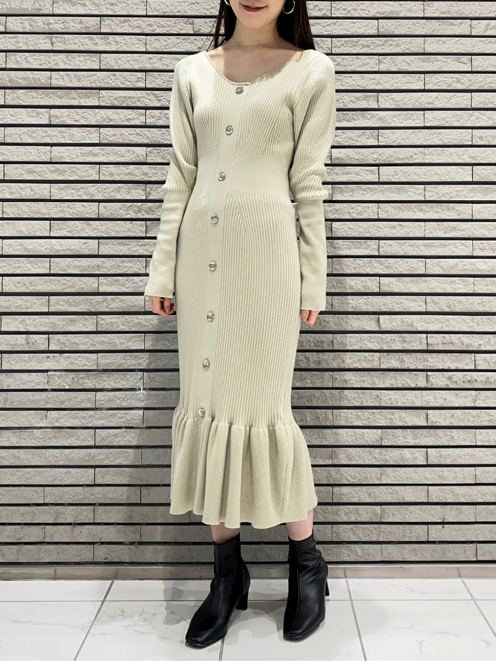 2way鈕釦針織連身裙