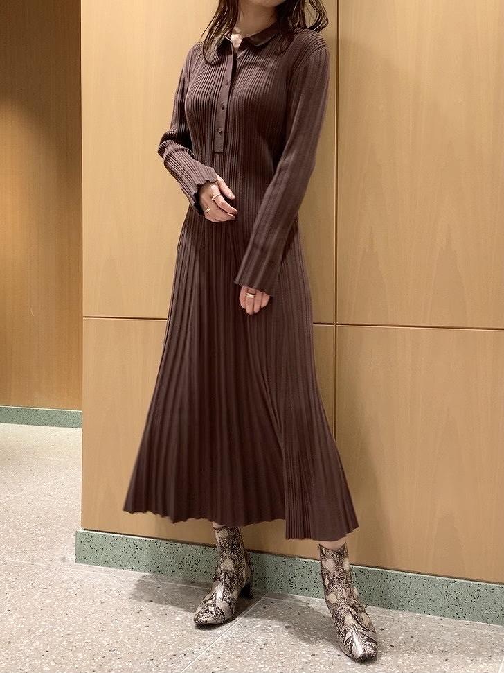 襯衫領長版針織連身裙