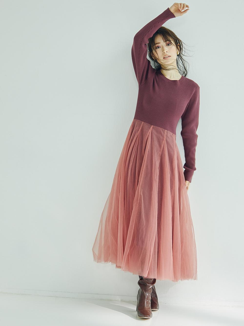 紗裙拼接針織連身裙
