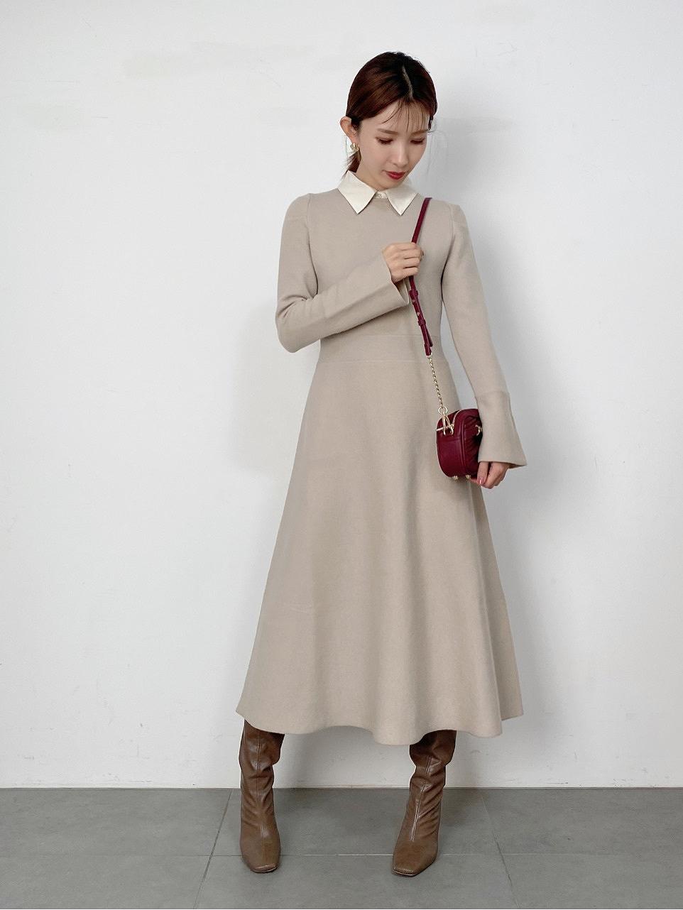襯衫領針織連身裙