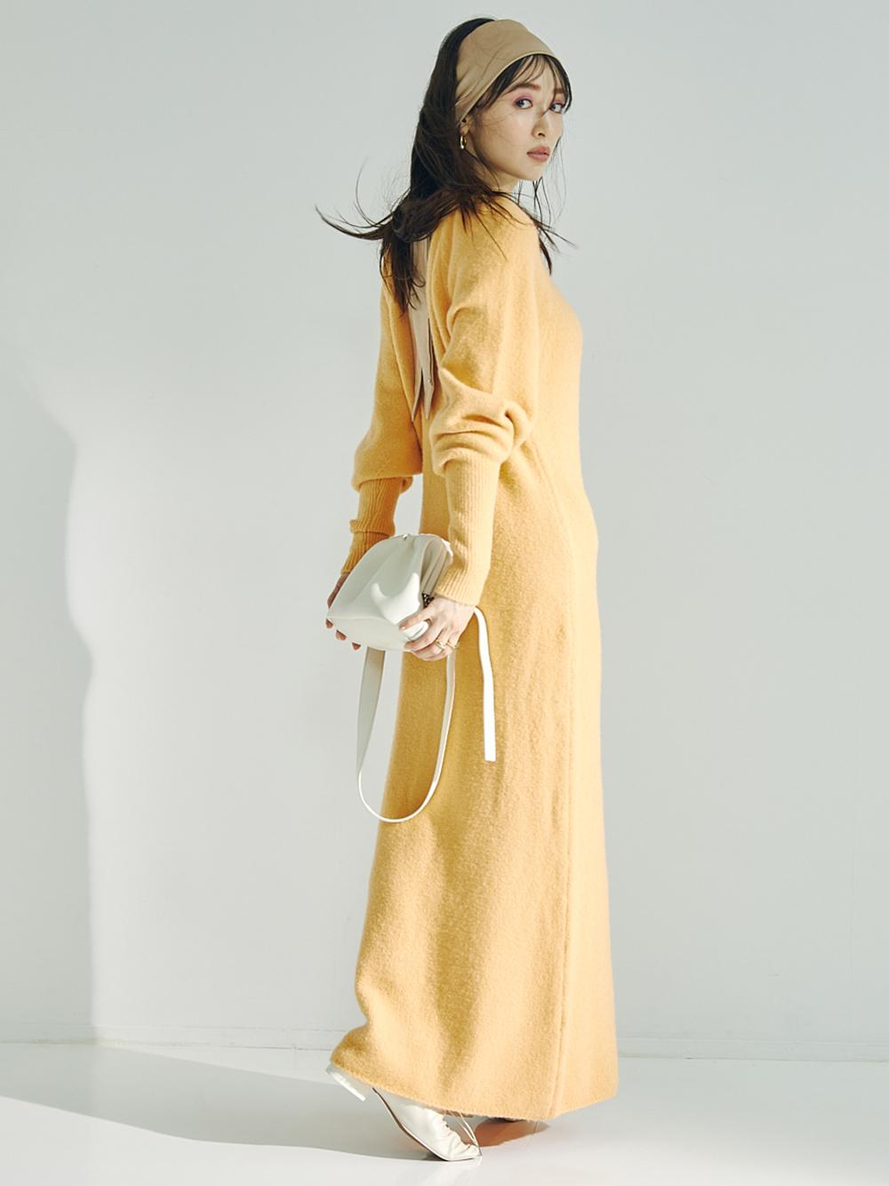 刷毛感澎袖針織連身裙