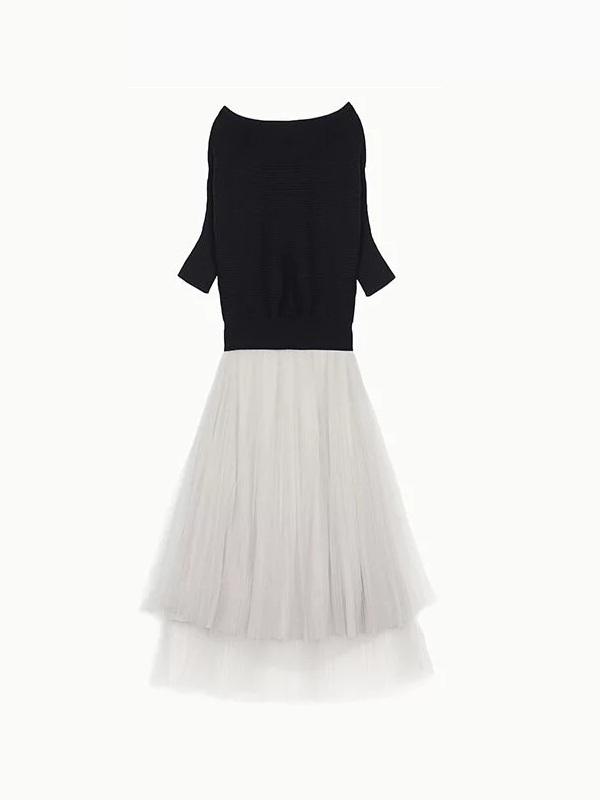 平領針織上衣紗裙組合