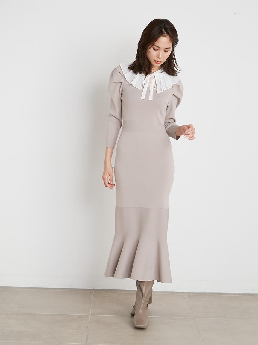 細褶領針織連身裙
