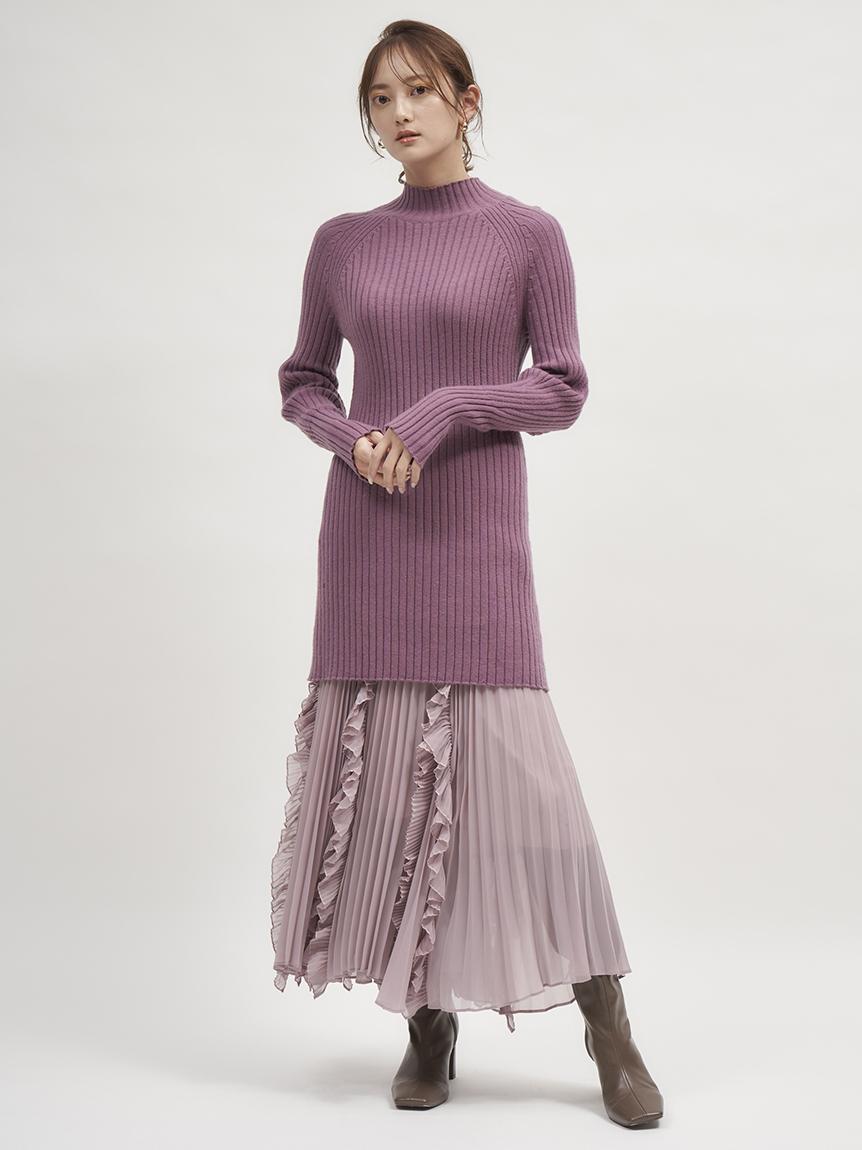 Sustainable羅紋合身針織短版連身裙