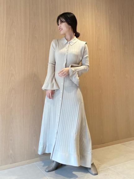設計感羅紋針織連身裙