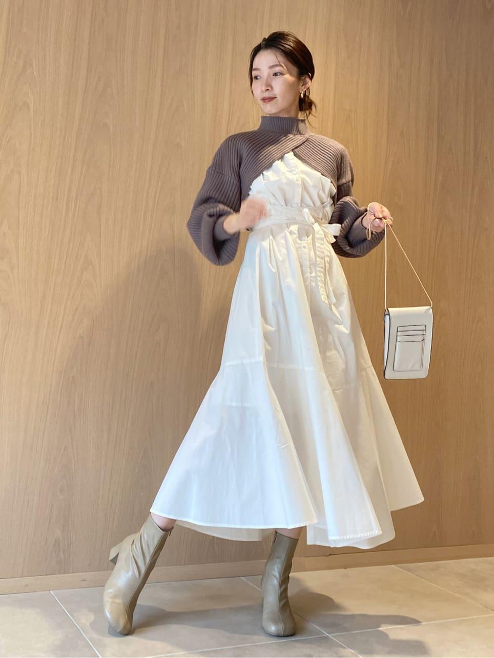 短版針織上衣層次連身裙