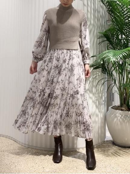 針織背心拼接連身裙