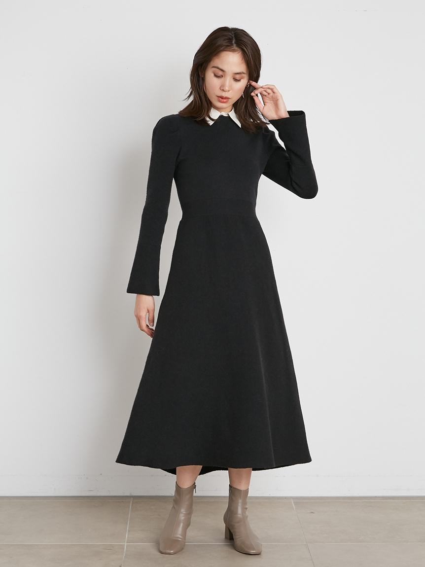 小領子針織連身裙