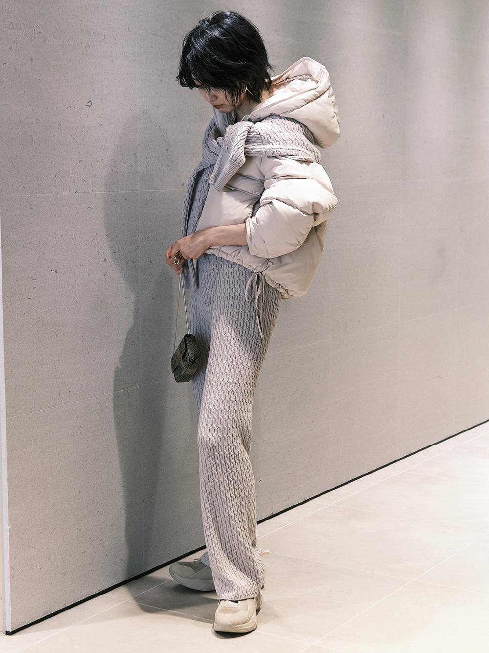 麻花針織長褲