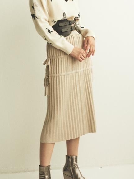 側綁帶針織百褶裙