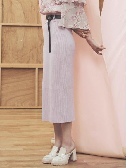 羅紋附腰帶窄版長裙