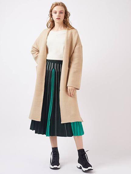 針織百褶長裙