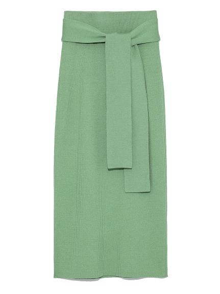 腰帶彈性針織長裙