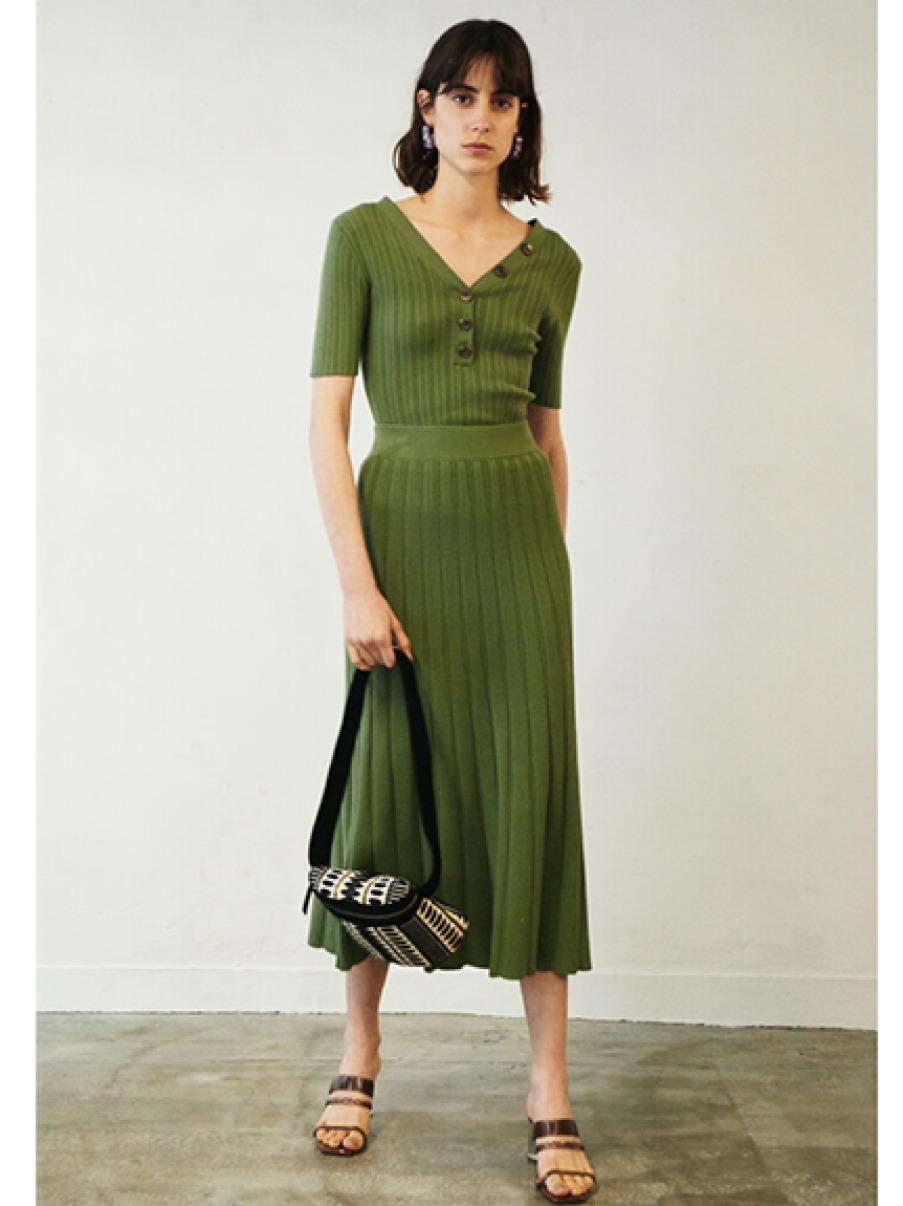 針織直條長裙