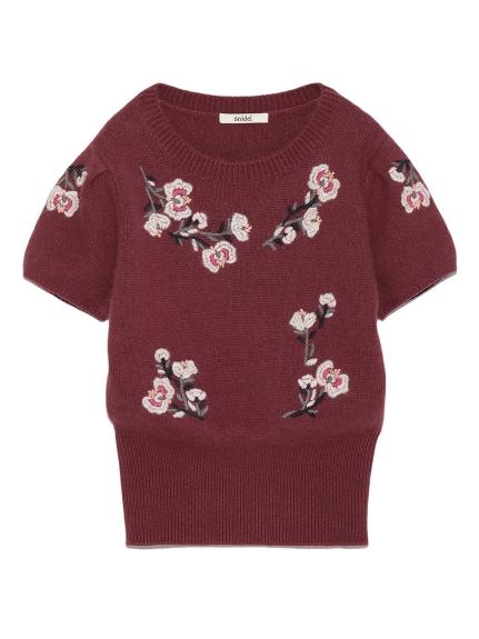 花卉刺繡針織上衣
