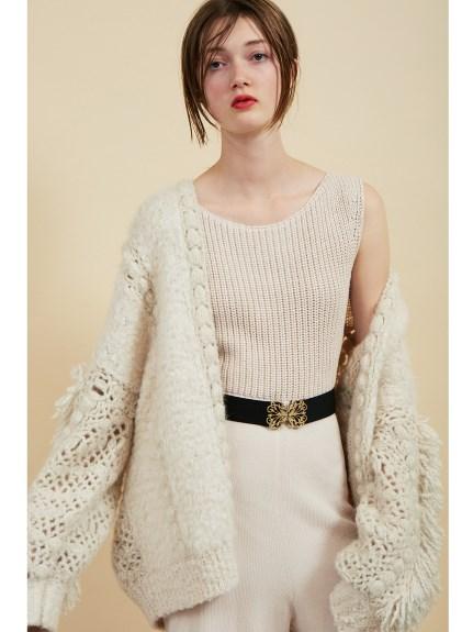 甜美毛邊麻花針織外套