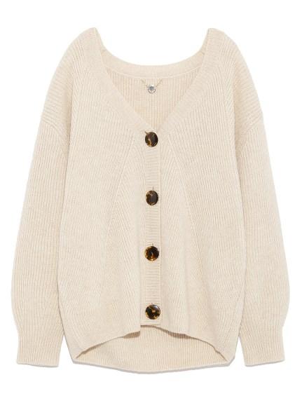 素面羅紋羊毛開襟外套