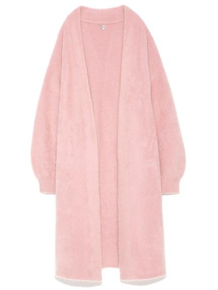 純色毛絨長版開襟外套