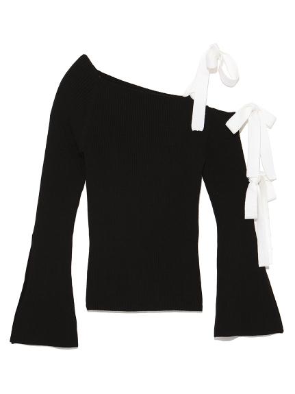 單肩緞帶針織衫