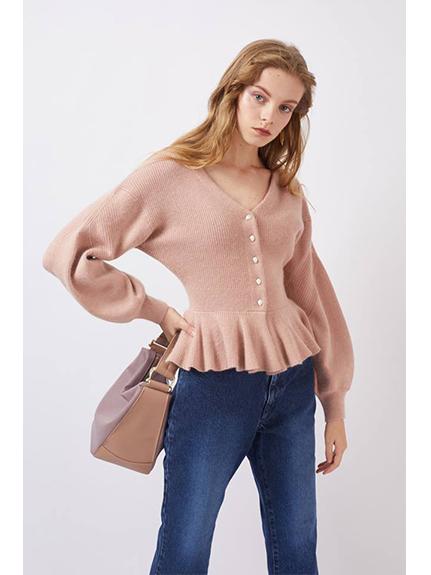 荷葉襬珍珠鈕釦開襟衫