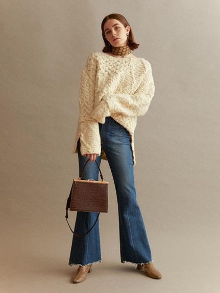 拼接設計編織毛衣