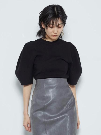 Sustaina立體澎袖針織開襟衫