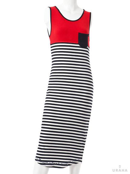 簡約休閒配色條紋長洋裝