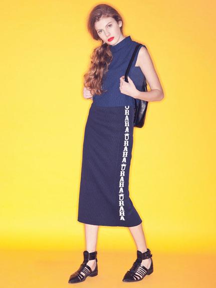 Logo設計彈性鉛筆窄裙