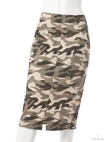迷彩高腰鉛筆裙