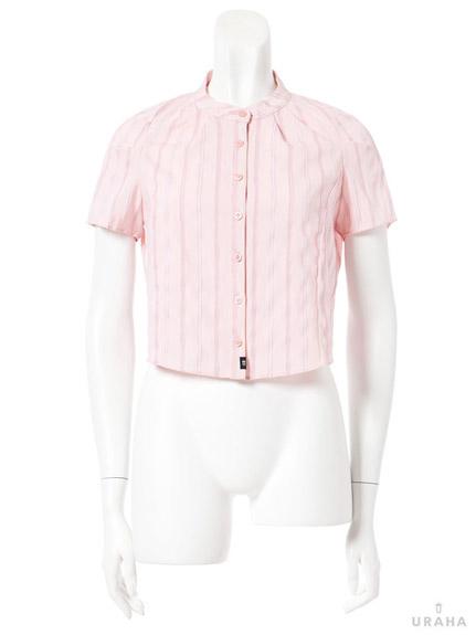彈性微高領直條短版襯衫