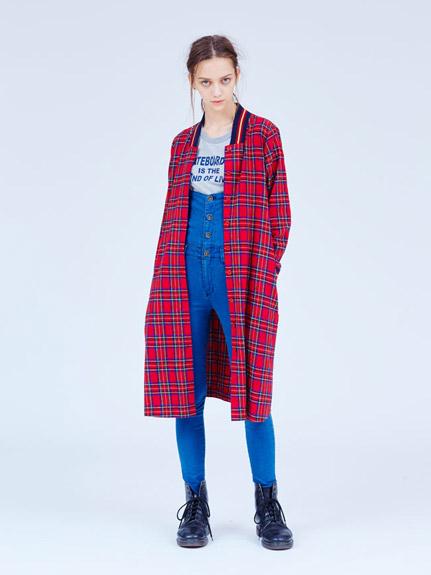 學院風格子襯衫長外套