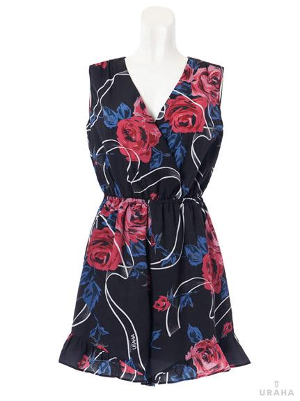 玫瑰印花V領連身短褲