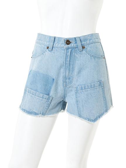 個性牛仔色塊高腰短褲