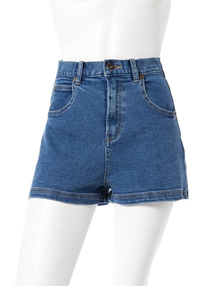 雙口袋高腰牛仔短褲