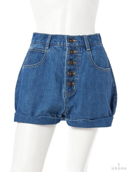 寬版捲邊牛仔短褲