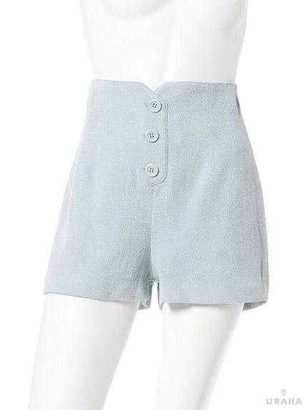 質感高腰前排釦短褲